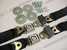 LAP STYLE SUNBURST BLACK SEAT BELTS MUSCLECAR HOTROD RESTOMOD COMPLETE KIT