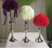 Wedding Flower Ball Feather Ball Stand Candle Holder Centerpiece Silver 13 inch