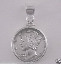 Coin Pendant 90% Silver VINTAGE MERCURY DIME Sterling Silver Bezel Soldered Bail