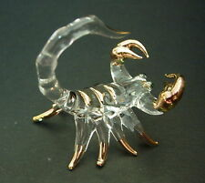 Glass Animal, Glass SCORPION Clear Glass and Gold Painted Ornament Glass Figure