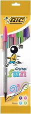 BiC Cristal Fun Ballpoint Pens with Large 1.6 mm Tip - Assorted Colours, Pk of 4