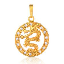 14K Yellow Gold Filled Dragon Pendant Drops Fashion Crystal Cameo Statement