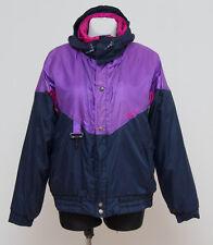 Para Mujer Unica de esquí de invierno Vintage chaqueta acolchada Navy Morado Talla L Grande Exc