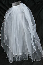 new bridal girl communion bachelorette veil WHITE 2 tiers layers elbow length