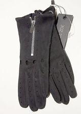 NWT Rachel Zoe 150114 Black Leather Suede Zipper Gloves  FS
