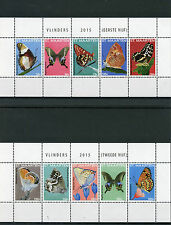 St Maarten 2015 MNH Butterflies 10v on 2 M/S Insects Vlinders