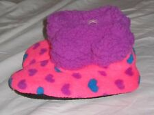 NWT Girls Hot Pink Heart Plush Sherpa Lined Boot Slippers - shoe size 10 - 13