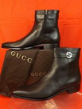 NIB GUCCI CORK BLACK LEATHER BELTED GG LOGO ZIP ANKLE BOOTS 13 14 $990 ITALY