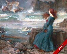BEAUTIFUL WOMAN RED HAIR IN DRESS WITNESSES SHIPWRECK PAINTING ART CANVAS PRINT