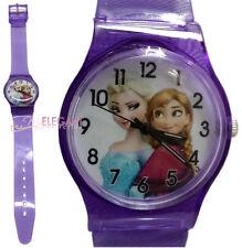 Disney Frozen Elsa & Anna Children Kids Girls Analog Quartz Purple Wrist Watch