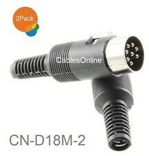 2-Pack 8-Pin Din Male B&O Audio Connector w/ Black Plastic Handle, CN-D18M-2