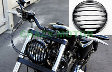 """Motorcycle Black 7"""" Metal Front Round Headlight Grill Cover For HARLEY Custom"""
