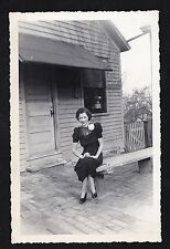 Old Vintage Antique Photograph Woman Wearing Corsage Sitting on Bench by House