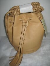 NWT Lucky Brand Braided Festival Leather Small Bucket Bag, Aztec natural BOHO