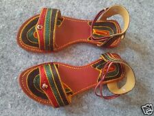 INDIAN US 8 LEATHER SOLE EMBROIDERED WOMEN HANDMADE SANDAL SHOES FLIP FLOP