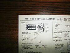 1968 Chevrolet Chevelle & Camaro EIGHT Series 375HP 396 CI V8 Tune Up Chart