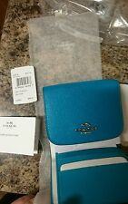 NWT COACH SMALL CROSSGRAIN TURQUOISE LEATHER CARD HOLDER TRIFOLD WALLET 53716