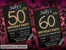 10 x Personalised Birthday Invitations 30th 40th 50th 60th Party Invites
