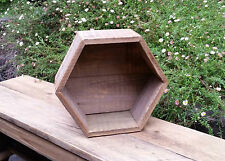 HEXAGON CUBE TIMBER CRATE WOODEN FRUIT BOX RECYCLED TIMBER