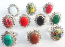 DESIGNER JEWELRY MIX GEMS! WHOLESALE LOT 10PC 925 STERLING SILVER OVERLAY RING!