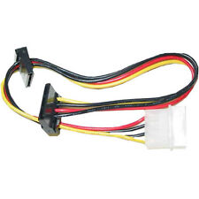 14 inch 4-Pin Molex Male to 2 x [Dual 90 Degree] 15-Pin SATA Female Power Cable
