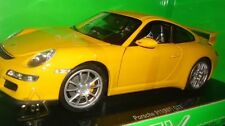 PORSCHE 911 (997) GT3 YELLOW 1/18 DIECAST MODEL CAR BY WELLY 18024