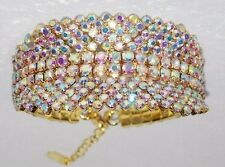 WEDDING BRIDAL GOLD W. AB IRIDESCENT RHINESTONE CRYSTAL BRACELET / CUFF