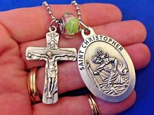 St CHRISTOPHER Trinity Cross Saint Medal Car Truck Rear View Mirror Auto Green
