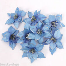 1x Blue Artificial Fabric Flower Christmas Tree Hanging Decor Xmas Celebration