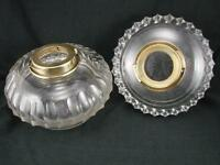 PAIR OF VICTORIAN CLEAR CUT GLASS, TABLE TOP / DROP IN FONTS FOR OIL LAMP
