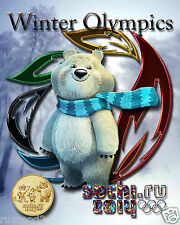 Olympic Poster/ 2014 sochi.ru /Winter Games/Russia/Mascot/Bear/ 17x22 inches