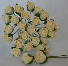 48 IVORY SEMI-OPEN ROSE BUDS Mulberry Paper wedding miniature cardmaking