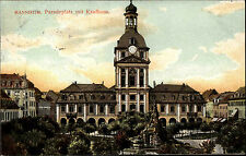 Mannheim alte AK 1907 Paradeplatz mit Kaufhaus Turm Turmuhr Uhr Denkmal gelaufen