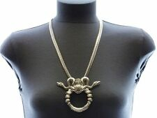 Gold Egyptian DOUBLE SNAKE WRAP-AROUND CIRCLE OMEGA Statement Necklace