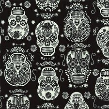 Glow In The Dark Folk Skulls Cotton Fabric Timeless Treasures By The Half Metre
