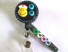 ID BADGE RETRACTABLE REEL SMILEY FACE RN PERSONALIZED NURSE,MEDICAL.HOSPITAL