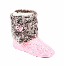 Ladies & Girls Boot Slippers Size 3 to 8 UK FAIRISLE BOOTIE WITH FUR - XMAS GIFT