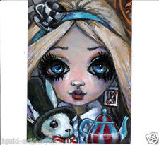 Aceo PRINT Alice in Wonderland zombie big eyes fantasy #94 art Liquid Acid Eyes