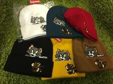 Supreme 2016 F/W Tom and Jerry Beanie Box Logo Red White Black Yellow Teal Brown