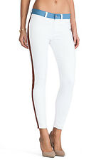 NWT 7 FOR ALL MANKIND Sz27 ANKLE TUXEDO SKINNY STRETCH JEANS WHITE/COGNAC $255