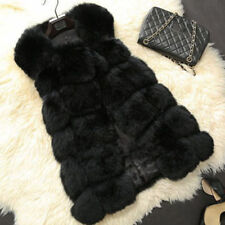 Ladies Warm Long Fit Slim Jacket Vest Faux Fur Waistcoat Coat Parka Tops Fashion