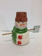 Ceramic snowman tea light holder with Terra cotta pot hat and snow shovel arms