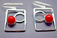 925 Sterling Silver square frame with round Coral Drop Dangle Earrings New
