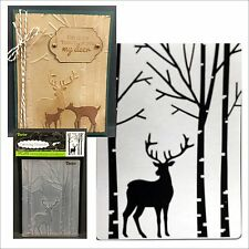 DARICE Embossing Folders - DEER IN FOREST embossing folder 1219-425 Animals,buck