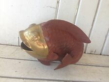 Open Mouth Brass Painted Fish Paperweight Figure Standing on Fins
