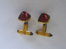 VINTAGE RED BLOOD GOLD PLATED CUFFLINKS