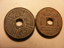 French Indo-china 1/4 Cent, 1942, VF, Zinc issued Coin