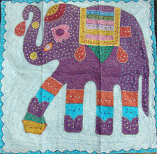 "34"" Elephant Embroidered Patchwork Wall Hanging Tapestry Ethn Decor Art_AR497"