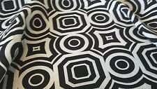 BLACK AND WHITE REVERSIBLE  WOVEN COTTON GEOMETRIC UPHOLSTERY  FABRIC