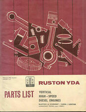 Ruston YDA Parts List vertical high speed diesel engine made in India original